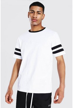 White Contrast Panel T-shirt