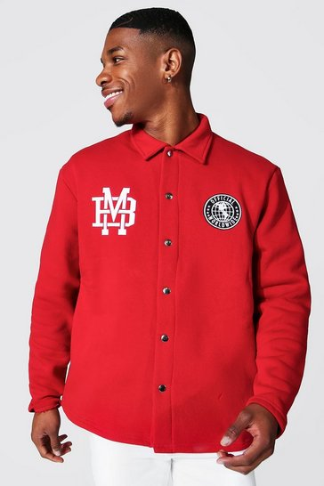 Red Oversized Official Varsity Coach Jacket