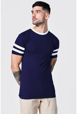 Navy Muscle Fit Contrast Panel T-shirt