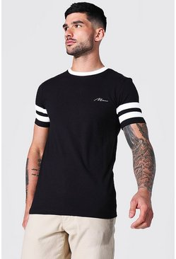 Black Muscle Fit Man Signature Panel T-shirt