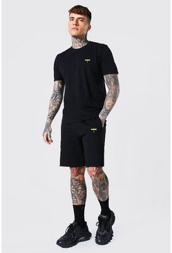 Black Dragonfly Embroidered T-shirt & Short Set