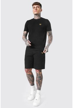 Black Bee Embroidered T-shirt & Short Set