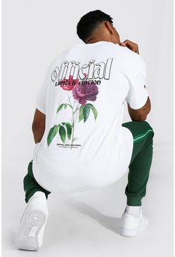 White Oversized Official Floral Graphic T-shirt