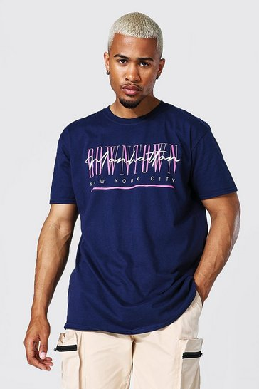 Navy Oversized Downtown Graphic T-shirt