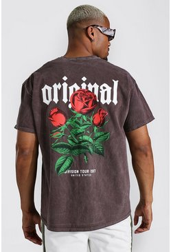 Chocolate brown Oversized Official Floral Overdyed T-shirt