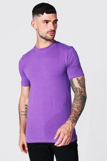 Purple Muscle Fit Crew Neck T-shirt