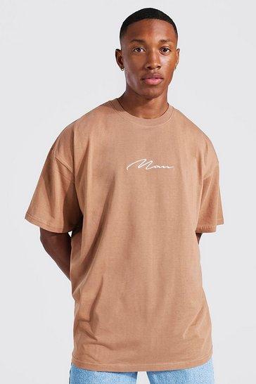 Brown Man Signature Oversized Crew Neck T-shirt