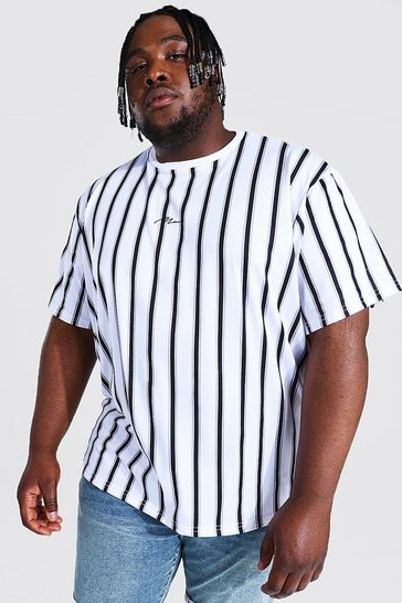 White Plus Size Loose Fit Man Script Stripe T-shirt