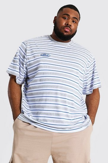 Grey Plus Size Loose Fit Offcl Stripe T-shirt