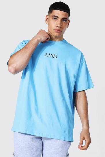 Blue Oversized Original Man Print T-shirt