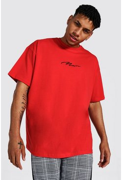 Red röd Man Signature Oversize t-shirt med brodyr