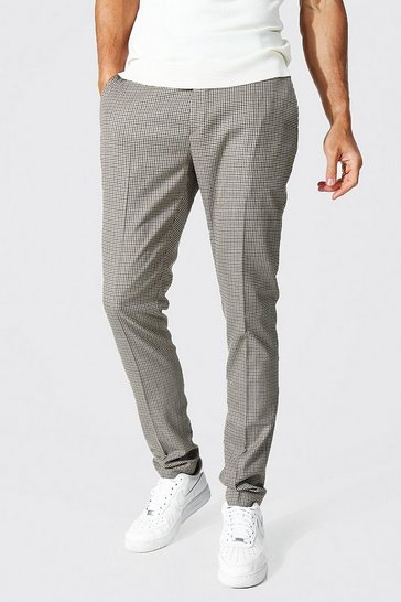 Brown Tall Skinny Dogtooth Trouser
