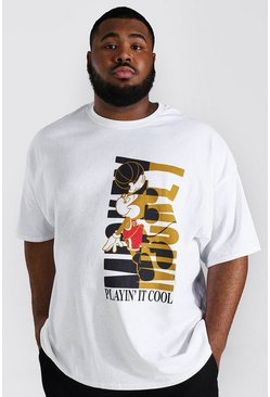 White Plus Size Mickey Basketball License T-shirt