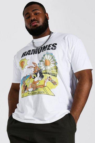 White Plus Size Ramones Sun License T-shirt