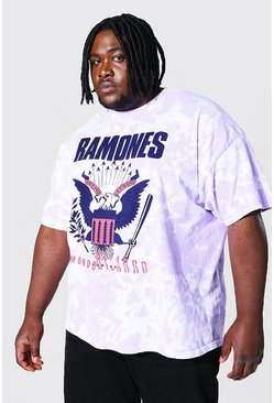 Pink Plus Size Tie Dye Ramones License T-shirt