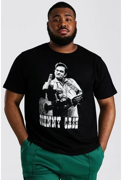 Black Plus Size Jonny Cash License T-shirt