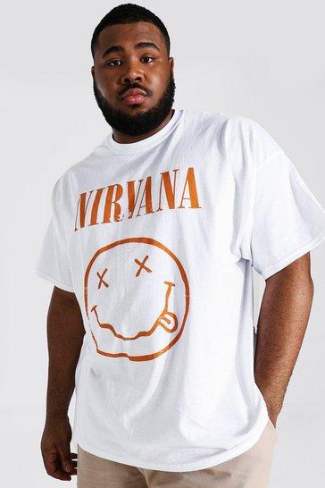 White Plus Size Distressed Nirvana License T-shirt