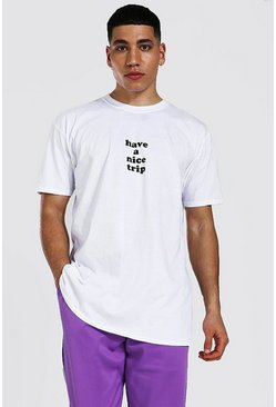 White Oversized Have A Nice Trip Graphic T-shirt