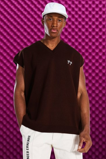 Chocolate brown Palm V Neck Knitted Sweater