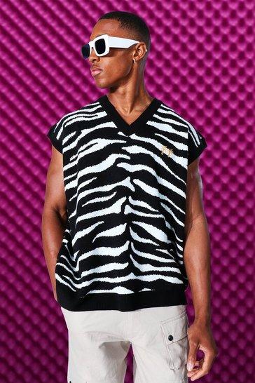 Black Zebra V Neck Knitted Sweater