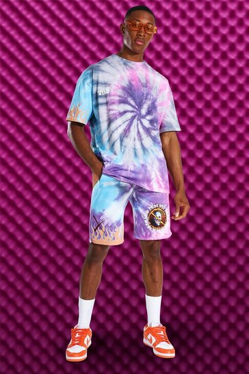 Purple Oversized Tie Dye T-shirt And Short Set