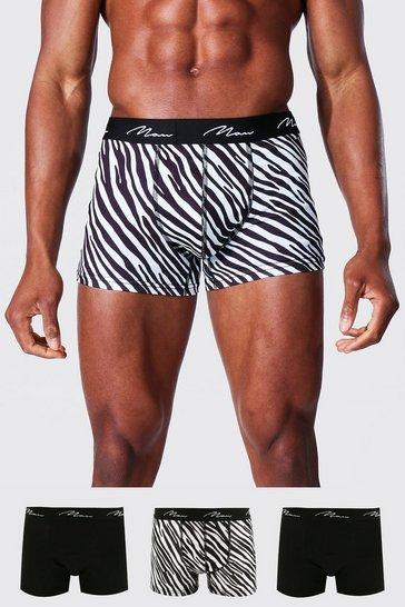 Black 3 Pack Man Signature Zebra Print Classic Trunks