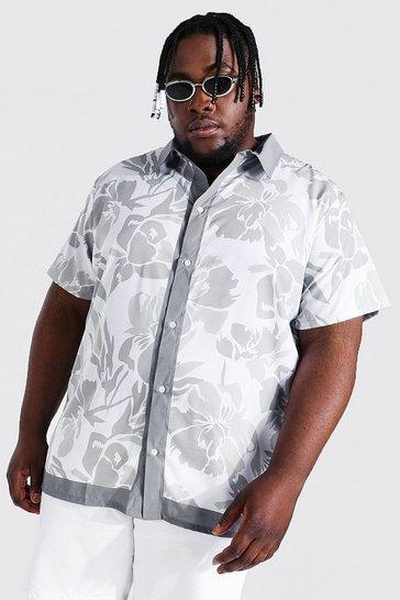 Grey Plus Size Short Sleeve Floral Border Shirt