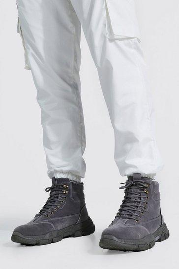 Grey Chunky Hiker Boot