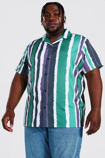 Mint green Plus Size Short Sleeve Pain Stripe Shirt