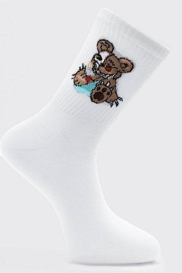 White Evil Teddy Tube Socks
