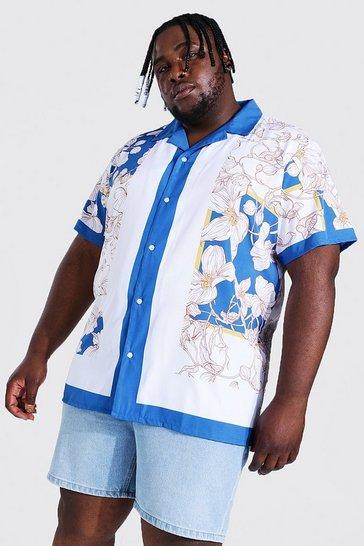 Cobalt blue Plus Size Short Sleeve Chain Border Shirt