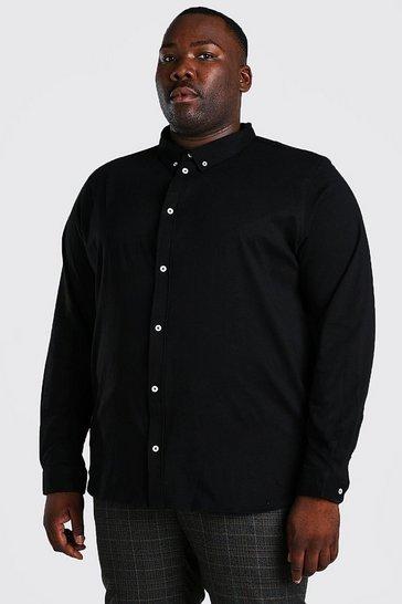 Black Plus Size Long Sleeve Jersey Shirt