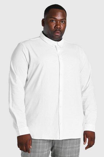 White Plus Size Long Sleeve Jersey Shirt