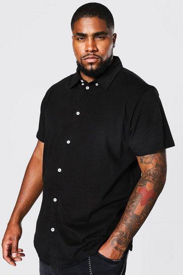 Black Plus Size Short Sleeve Jersey Shirt