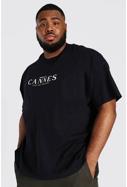 Black Plus Size Cannes City Print T-shirt