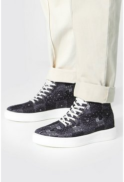 Bandana Branded Canvas High Tops, Black Чёрный
