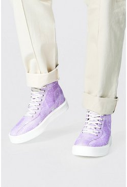 Bandana Branded Canvas High Tops, Lilac Фиолетовый