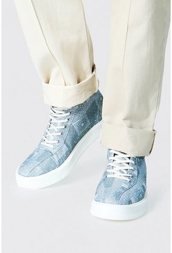 Bandana Branded Canvas High Tops, Sage Серый