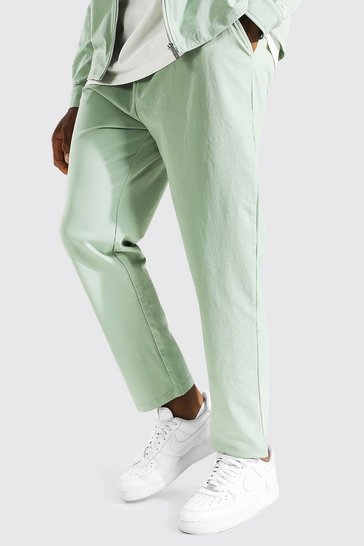 Mint green Elasticated Waistband Tapered Trousers