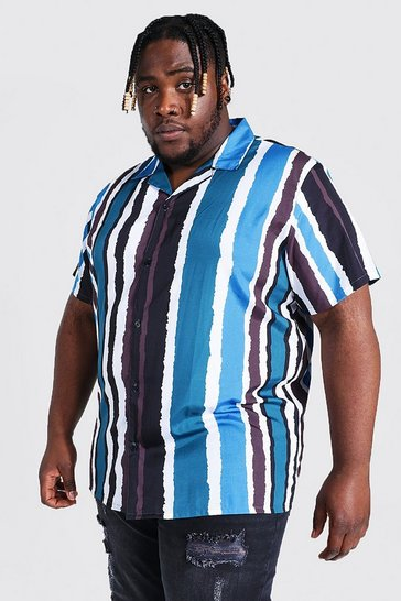 Teal green Plus Size Short Sleeve Pain Stripe Shirt