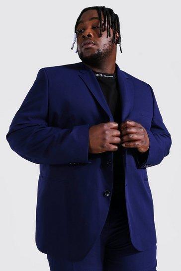 Navy Plus Size Regular Single Breasted Suit Jacket