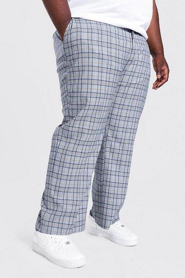 Grey Plus Size Regular Fit Check Trouser
