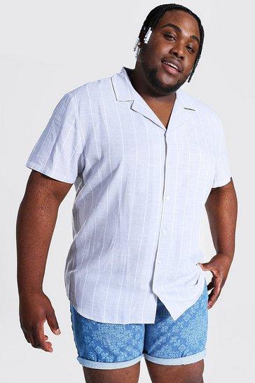 Grey Plus Short Sleeve Pinstripe Linen Shirt