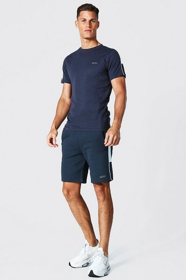 Navy Tall Man Active Side Stripe Tee And Short Set