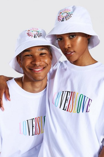 White Pride Love Is Love Circle Print Bucket Hat