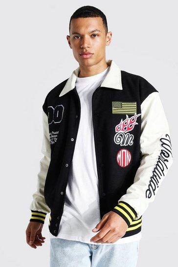 Black Tall Man Badge Varsity Jacket