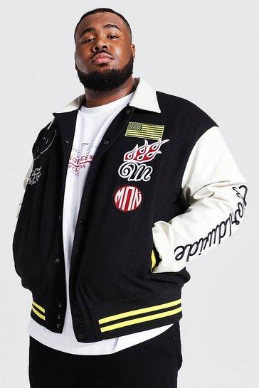 Black Plus Man Badge Varsity Jacket