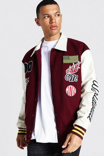 Burgundy red Tall Man Badge Varsity Jacket