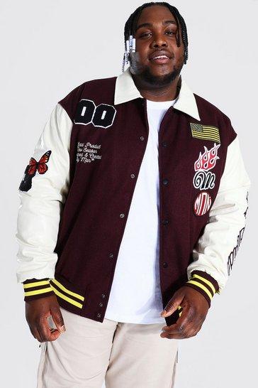 Chocolate brown Plus Man Badge Varsity Jacket