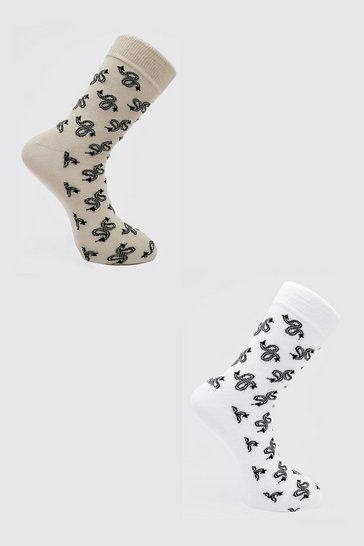 Multi 2 Pack Bandana Jacquard Socks
